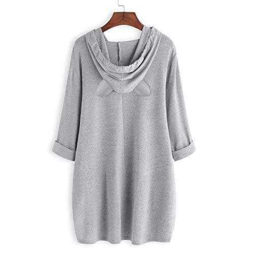 Alangbudu Women Cat Ear Design Hoodie Letter Sweatshirt Asymmetry Hem Pullover Blouse Long Sleeve Tops Tunic w Pockets Gray