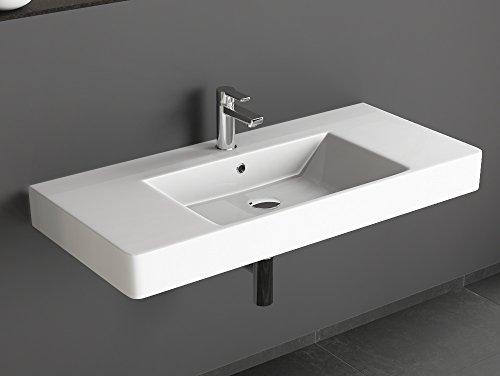Aqua Bagno Design Waschbecken aus hochwertiger Keramik, Weißes Hängewaschbecken im modernen Stil   100 x 45 cm