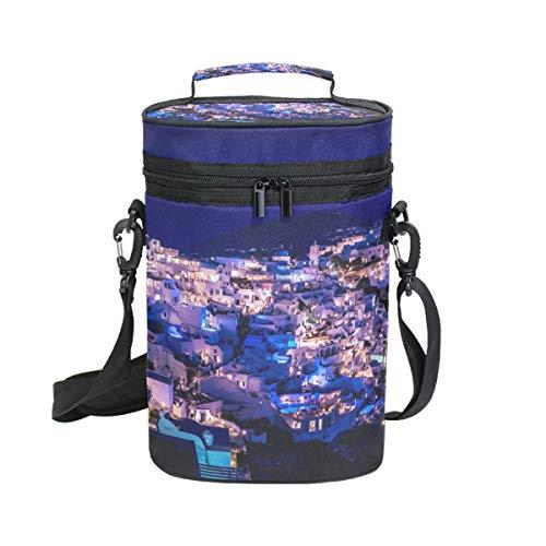 Montoj Weinkühltasche, isoliert, für Reisen, erstaunliche griechische Santorini-Nacht, mit Wein-Tragetasche.