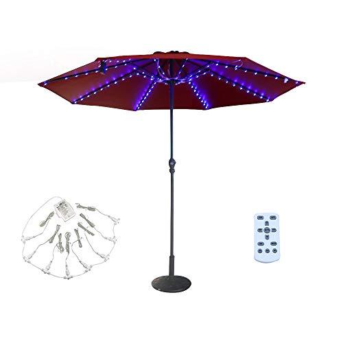 Patio LED Umbrella String Lights, 8 Lighting Mode with Remote Control Umbrella Lights Battery...