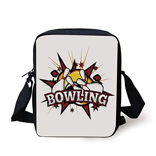 LULABE Bowling Party Decorations,Cartoon Comic Book Style Design Stars Retro Crash Effects Decorative,Ruby White Yellow Print Kids Crossbody Messenger Bag Purse