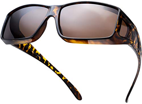 The Fresh High Definition Polarized Wrap Around Shield Sunglasses for Prescription Glasses - Gift Box Package (702-Tortoise, Brown(Including side lens))