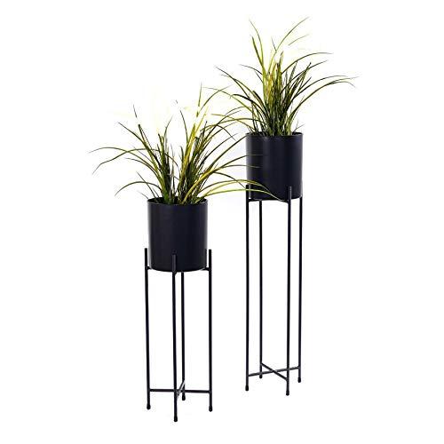 Spetebo Metall Blumentopfständer 2er Set - Ständer mit schwarzen Töpfen - 74 und 58 cm - Blumentopfhalter mit Topf - Planzenständer rund