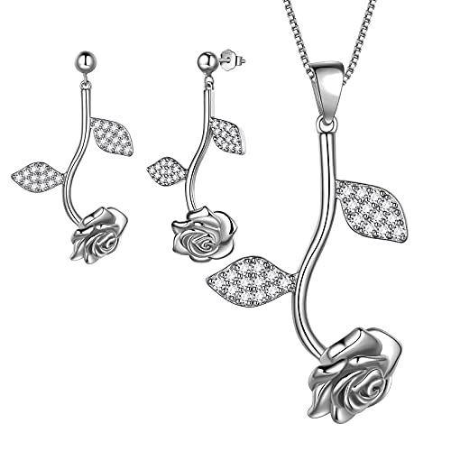 Aurora Tears Elegante juego de collar y pendientes de plata de ley 925 con diseño de flores de rosas, regalo de joyería para mujeres y niñas, Cristal.,