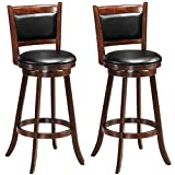 COSTWAY Bar Stools Set of 2, 360 Degree Swivel, Accent Wooden Swivel Back Bar Height Stool, Fabric Upholstered Design, PVC Cushioned Seat, Perfect for Dining and Living Room (Height 29')