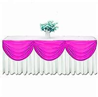 チュチュテーブルクロス結婚式のイベントパーティーの装飾のためのトップスワッグドレープ付きウェーブドレープアイスシルクテーブルスカートテーブルクロス幅木パーティーテーブル用スカート(Color:E,Size:6.3x0.8M)