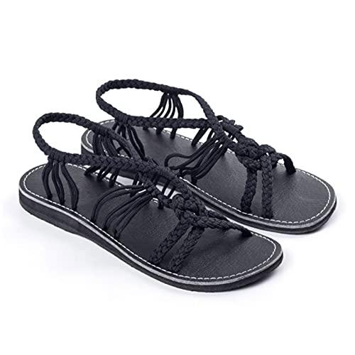 Shhyy Sandalias Tejidas para Mujer Sandalias Planas con Boca De Pez Sandalias con Correa De Gladiador para Mujer Verano Casual Cómodo Punta Abierta Zapatos Impermeables Ligeros,Negro,35