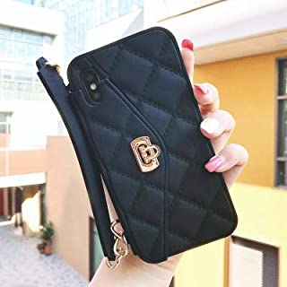 Maxlight Luxury Wallet Card Soft Silicon Phone Case Cover for iPhone Xs Max XR X 7 8 Plus Women Handbag Cases with Long Chain (Black, for iPhone XR)