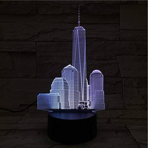DFDLNL World Trade Center USB 3D Led Nachtlicht Veilleuse Lampe Dekoration RGB Kinder Baby Geschenk Berühmte Gebäude Tischlampe Nacht Neon