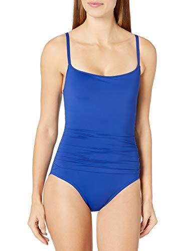 La Blanca Women's Island Goddess Rouched Body Lingerie Mio One Piece Swimsuit, Blueberry, 4