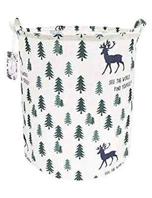 """TIBAOLOVER 19.7"""" Large Sized Waterproof Foldable Canvas Laundry Hamper Bucket with Handles for Storage Bin,Kids Room,Home Organizer,Nursery Storage,Baby Hamper(Pine Trees and Deers)"""