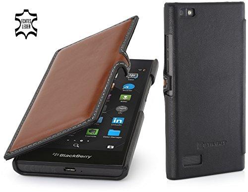 StilGut Book Type Hülle mit Clip, Hülle Leder-Tasche für BlackBerry Leap. Seitlich klappbares Flip-Hülle aus Echtleder für BlackBerry Leap, Braun - Nappa/schwarz