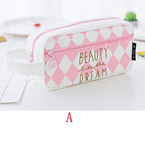 Gbell Cute Pencil Case with Compartments Creative Cartoon Pencil Bag Box for Girls Gift Novelty Item Pink and White (A)