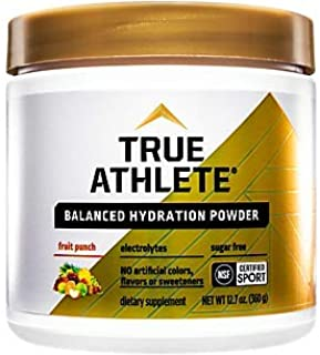 True Athlete Balanced Hydration Powder, Fruit Punch Flavor, Promotes Hydration Before Exercise, Easy to Mix, NSF Certified...