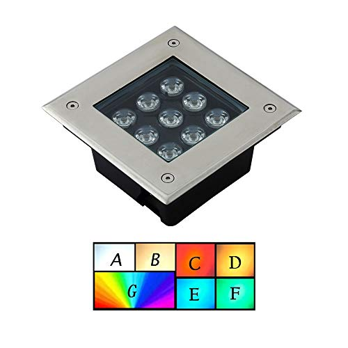 ASDFGHT Gartenlichter Bodenleuchten Eingebettet draußen Fußboden wasserdicht Küchendekoration Brunnen Auffahrt, 7 Farben (Color : A, Size : 3W)