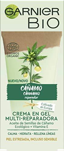 Garnier Bio, Crema en Gel Multi-Reparadora con Aceite de Semillas de Cannabis Sativa (Cáñamo) Ecológico Rico en Ácidos Grasos Omega 3, Omega 6 y Vitamina E, Fórmula Vegana, Calma, Hidrata, 50 ml