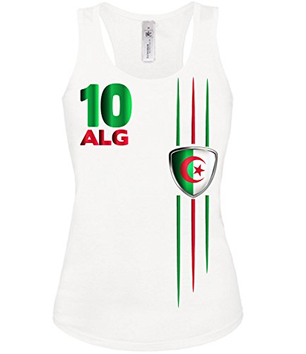 Algerien 4301 Fussball Fanshirt Fan Shirt Tshirt Fanartikel Artikel Frauen Damen Tank Top Tanktop T-Shirts Weiss XL