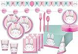 Set de decoración para 8 comensales (60 piezas), diseño de conejos, color rosa