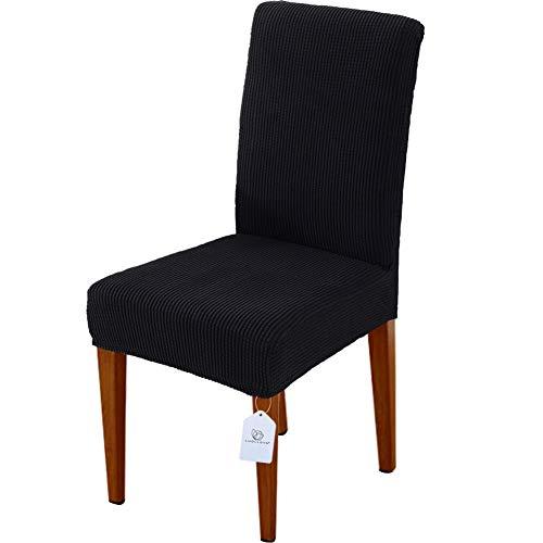 LUOLLOVE Stuhlhussen, Stretch Abnehmbare Waschbar Stuhlbezug für Esszimmerstühle,Stretch Stuhl Mit Gummiband für Esszimmer(4er,Schwarz)