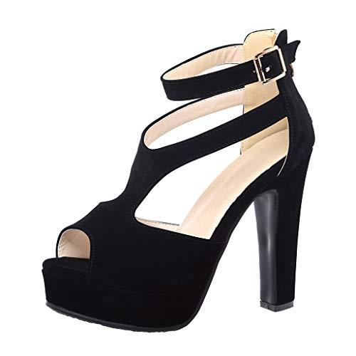 Oksea Damen Riemchensandaletten mit Blockabsatz Plateau Vorne High Heels Pumps Mode Einfarbig Atmungsaktiv offene Sandalen leichte Hausschuhe Frauen Schuhe