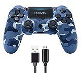 DY SONY Wireless Controller für PS4, Game Controller Joystick für PlayStation 4 mit USB-Kabel, Camouflage Blau