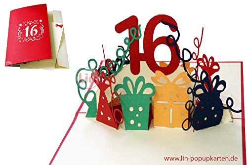 LIN17632, POP UP 3D-kaart, pop-up verjaardagskaart, 16 jaar, wenskaarten verjaardag 16, pop-up kaart, pop-up kaarten verjaardag, bruiloft 16 jaar, jubileum 16 jaar, N365