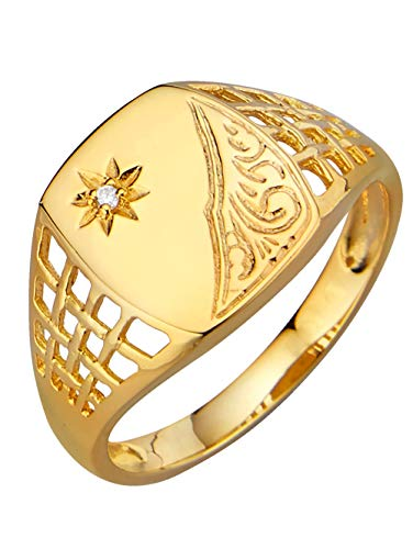 KLiNGEL Herren 925 Silber Ring mit Synthetischer Zirkonia in Weiß