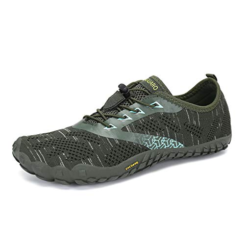 Mens Womens Barefoot Gym Running Walking Trail Running Shoes Beach Hiking Water Shoes Aqua Sports Pool Surf Waterfall Climbing Quick Dry Knit/Olive Green