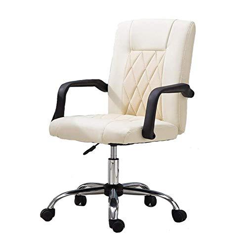 JIEER-C stoelen voor de tijd Libero bureaustoel, zitting van PU-kunststof, in hoogte verstelbaar, houder voor draaischarnier en wielen, robuust Wit.