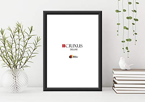 CRIXUS `Deluxe´ Bilderrahmen DIN A1 für 59,4 x 84,1 cm Bilder, Farbe: Schwarz, MDF-Holz Rahmen, mit Acrylglas Kunstglas 1mm (Bruchsicher), Rahmenbreite 38 mm