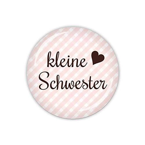 lijelove® Vichy rosa, kleine Schwester (Art. TA01-39) als Button, Magnet, Taschenspiegel und Flaschenöffner erhältlich (Button 59mm Ø)