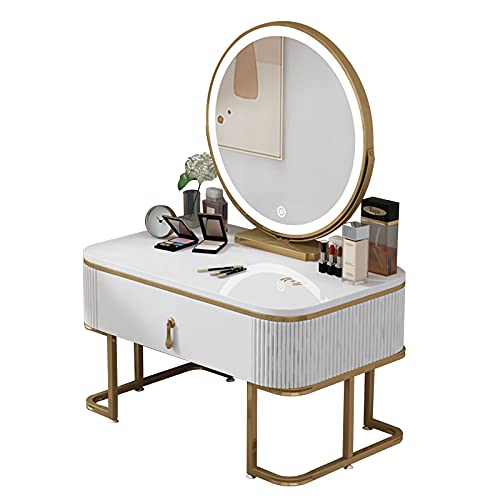 Multifuncional Tocador, Tamaño Pequeño Escritorio de Maquillaje, Uso en Cama Tocador, Un Cajón, con Espejo Inteligente LED, 60 * 40 * 85cm.