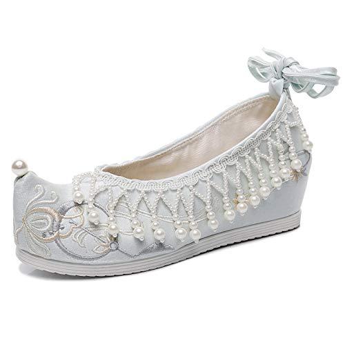 ZCRFYY Zapatos de Boda Rojos de tacón Alto Novia de Boda China en la Silla sedán Show Wo Zapatos Bordados con Cuentas Hanfu Zapatos Mujeres,Azul,37