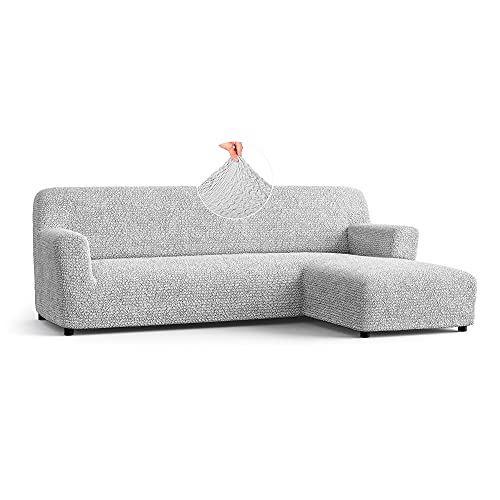Menotti L Shape Sofa Cover - Sectional Covers - Chaise Lounge Couch Cover - Soft Polyester Fabric Slipcovers - 1-piece Form Fit Stretch Furniture Slipcover - Microfibra - Pearl (L-Shape Right)
