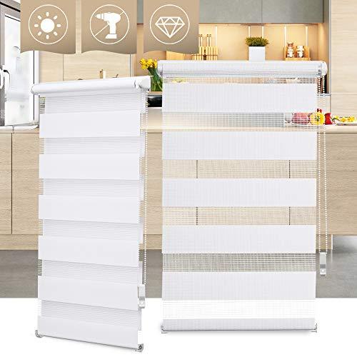 OBdeco Doppelrollo Duo Rollo Klemmfix ohne Bohren B85cm x H150cm(Stoffbreite 81 cm) Weiß für Fenster lichtdurchlässig und verdunkelnd