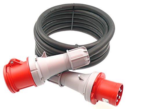 CEE Verlängerungskabel Starkstromkabel 63A 400V Gummileitung H07RN-F 5g10 mm² IP44 außen 25m