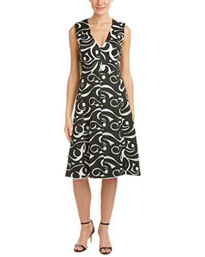 BCBG Maxazria Womens Embroidered A-Line Swirl Dress Black/White Swirl 2