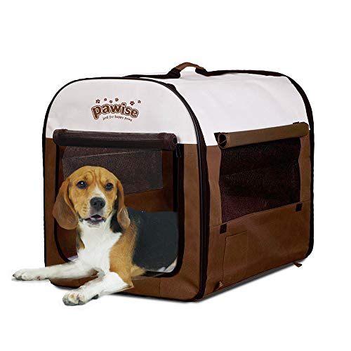 PAWISE Folding Soft Dog Crate Pet Kennel Houses Portable Tent Indoor & Outdoor, Medium Dog Houses
