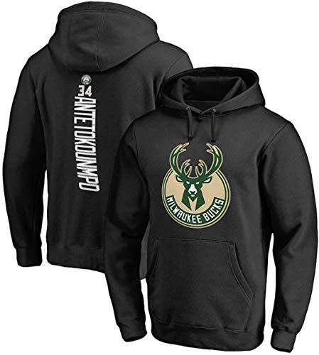 YZY Herren NBA Hoodie, Giannis Antetokounmpo Bucks # 34 Basketball Pullover Loose Sweatshirt Bequemes Langarm Sweatshirt T-Shirt,XXL(180~190CM)