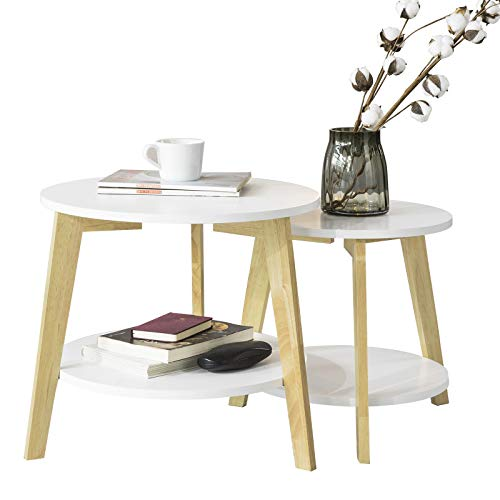 SoBuy® FBT75-W Tables Basses Gigognes Table café Ronde Table dAppoint Table Basse Ronde Guéridon – Set de 2