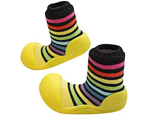 Attipas Rainbow - Ergonomische Baby Lauflernschuhe mit Baumwolle | Kinder Barfußschuhe, Hausschuhe | Weiche, Atmungsaktive, Rutschfeste Sohle, Rainbow Gelb, 21.5 EU