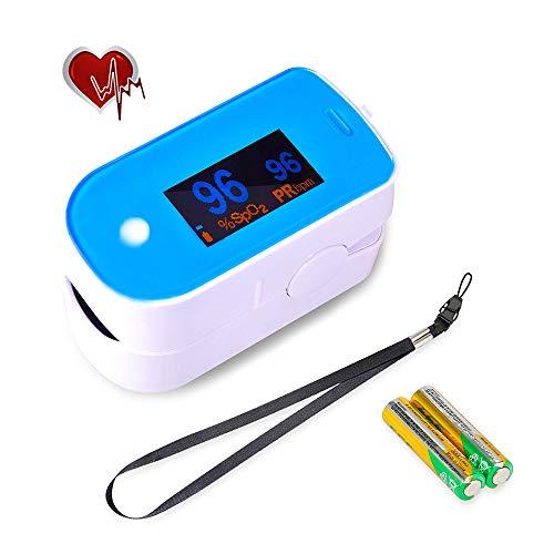 RRLOM Blutsauerstoffmessgerät Pulsmesser Finger Sättigung Digital LED-Display 8 Sekunden für Sport und Körperpflege für Erwachsene und Kinder (komplettes Zubehör), blau