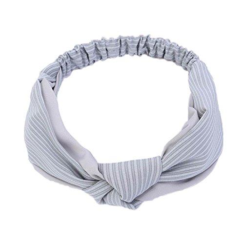 Demarkt 1 Pcs Femme Couleur Pure Bande de Cheveux de Soie Traverser Headband Elastique Extensible Hairband (Gris)