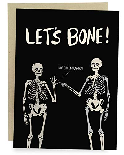 Sleazy Greetings Funny Let's Bone Anniversary Birthday Valentine's Day Card For Him Or Her | Dirty Halloween Skeleton Card | Let's Bone Card
