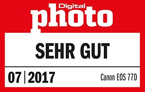 Canon EOS 77D DSLR Digitalkamera - mit Objektiv EF-S 18-55mm F4-5.6 IS STM Objektiv (24,2 Megapixel, 7,7 cm (3 Zoll) Display, APS-C CMOS Sensor, Full-HD), schwarz