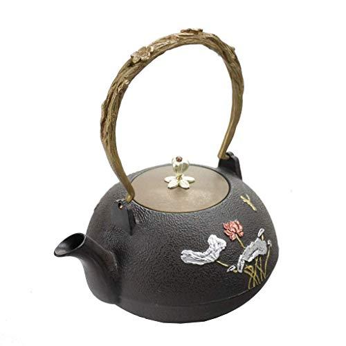 GONGFF Tetera de Hierro Fundido de 1.0L Hoja de Plata Antigua Flor de Loto Hervidor de Hierro en Polvo Juego de té Oxidación Revestimiento Óxido (Color: Negro)