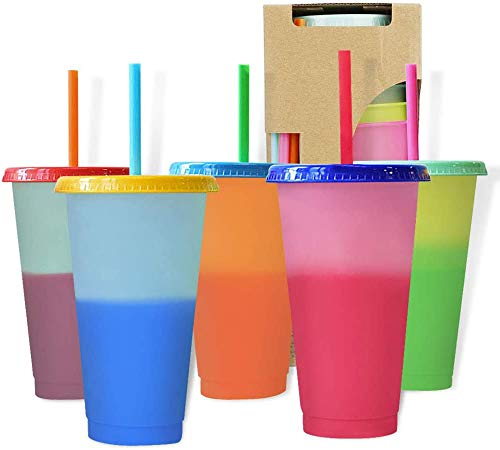 Color Changing Cups 5 Pack - 24 oz Reusable Cups, Lids and Straws BPA Free, Color changing stadium cup - Adult Kids Coffee Cup Party Cup