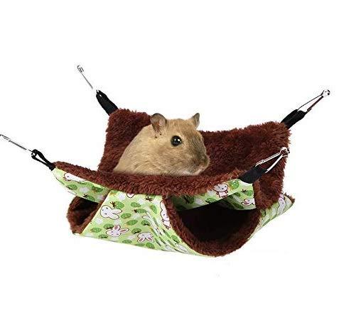 Kleine Tiere Hängematte, weiche warme Doppelschicht Haustier hängende Bett Haustier Decke für Papagei-Meerschweinchen Chinchilla Kätzchen Katzen Frettchen Mäuse kaninchen Eichhörnchen(20 * 20cm)