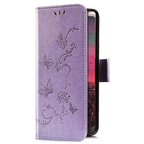 Uposao Kompatibel mit iPhone XR Hülle Brieftasche Handyhülle Schmetterling Blume Leder Schutzhülle Wallet Flip Book Case Handytasche Ständer Ledertasche Kartenfächer Magnet,Lila