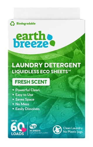 Earth Breeze - Liquidless Laundry Detergent Sheets - Fresh Scent - No Plastic (60 Loads) 30 Sheets